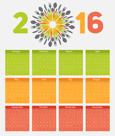 2016 New Year Calendar on Abstract Mobile Phone Illustration Illustration