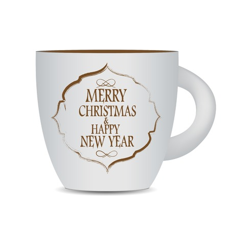 cofee cup: Abstract Beauty Christmas and New Year Cofee Cup. Vector Illustration.