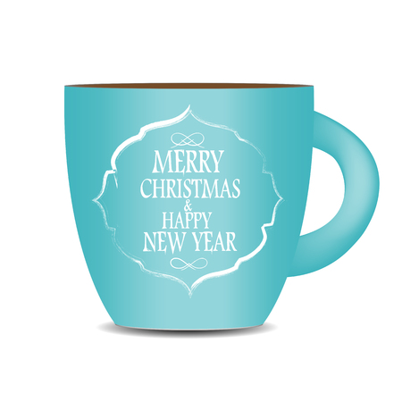 cofee: Abstract Beauty Christmas and New Year Cofee Cup. Vector Illustration.  Illustration