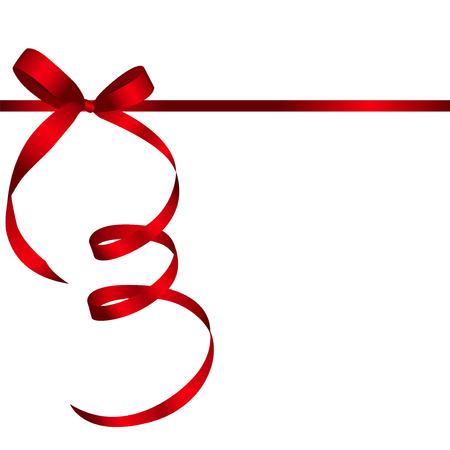 Kaart met rood lint en boog Gift. Vector illustratie EPS10 Stock Illustratie