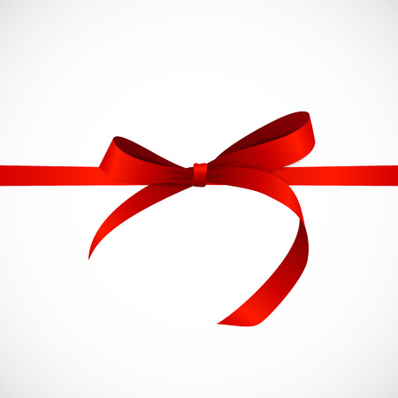 red bow: Gift Card with Red Ribbon and Bow.  Illustration