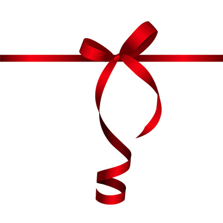 bow: Gift Card with Red Ribbon and Bow.  Illustration