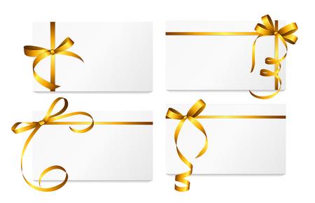ゴールドのリボンと弓セット ギフト カード。 写真素材 - 49310202