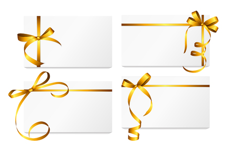 gold: Gift Card with Gold Ribbon and Bow Set.