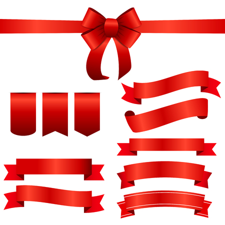 bow: Red Ribbon and Bow Set.