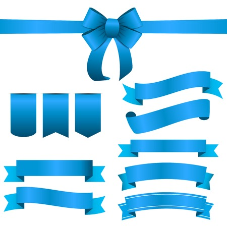 color image: Blue Ribbon and Bow Set.