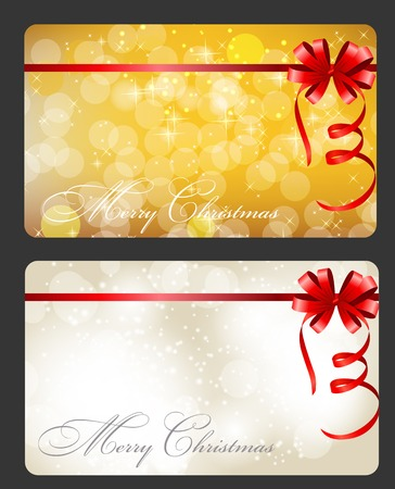 lighting technique: Set of cards with Christmas BALLS, stars and snowflakes, illustration.