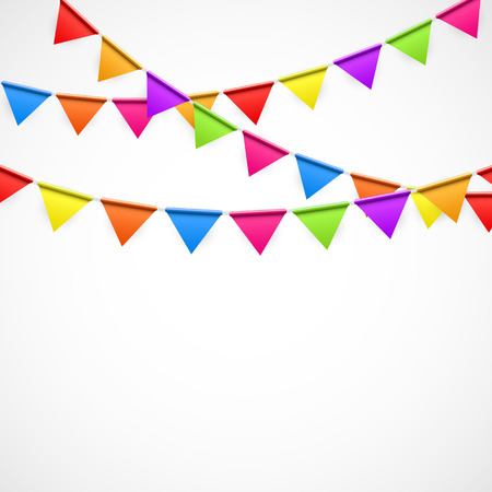 text space: Party Background with Flags Illustration.