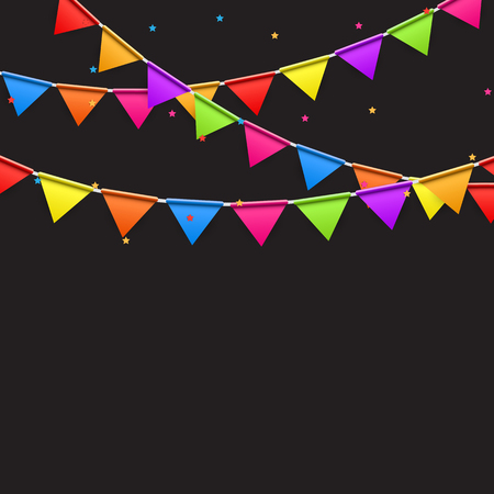 event party festive: Party Background with Flags Illustration.