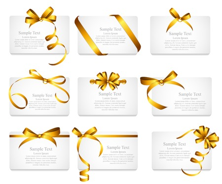 Card with Gold Ribbon and Bow Set. Vectores