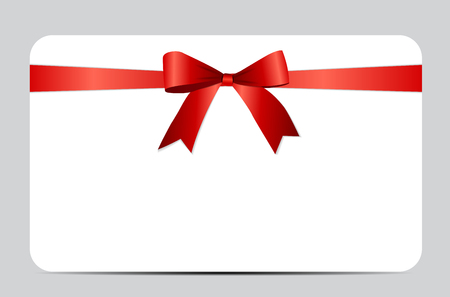 red bow: Gift Card with Red Ribbon and Bow.
