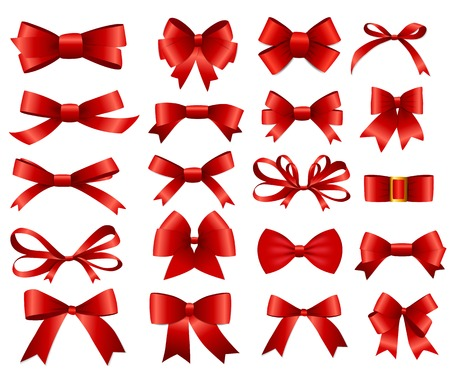Red Ribbon and Bow Set for Design. Ilustracja