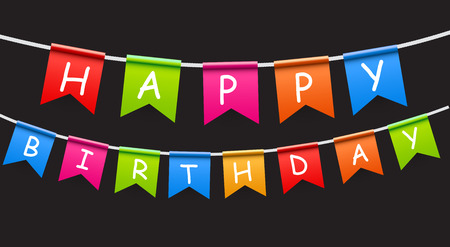 text space: Happy Birthday Party Background with Flags Vector Illustration. EPS10