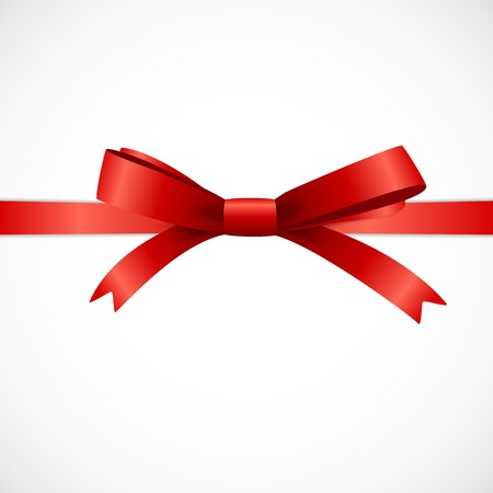 Gift Card Set with Red Ribbon and Bow. Vector illustration EPS10 Ilustração