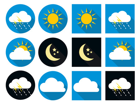 morning night: Weather Icons with Sun, Cloud, Rain and Moon in Flat Style with Long Shadows EPS10