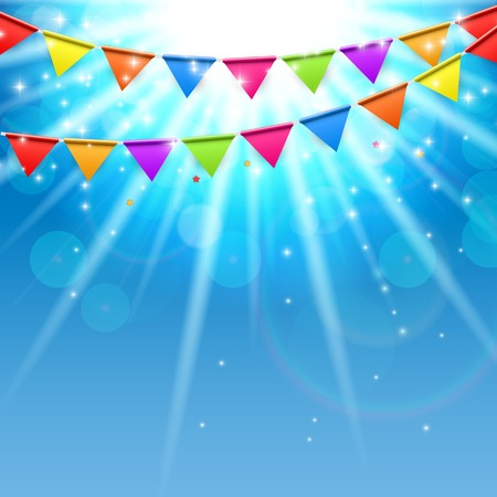happy birthday text: Party Background with Flags Vector Illustration. EPS10
