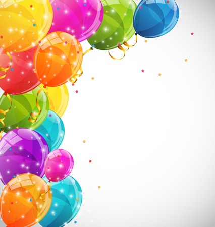 globos de cumplea�os: El color brillante hincha el fondo Ilustraci�n vectorial EPS10