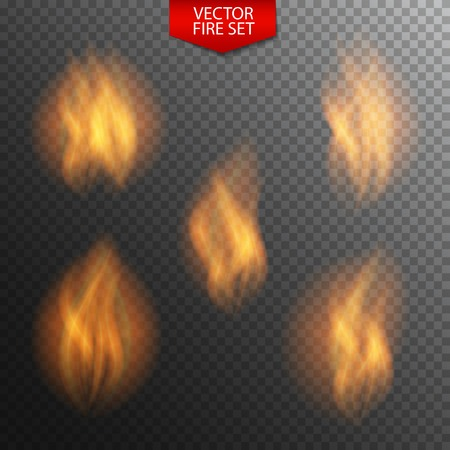 naturalistic: Naturalistic Fire on Dark Transparent Background. Vector Illustration. EPS10 Illustration