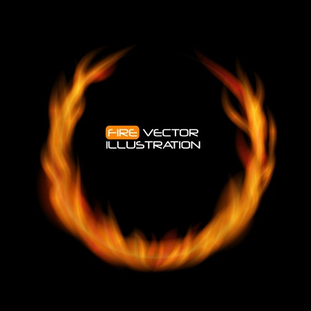 naturalistic: Naturalistic Fire Frame on Dark  Background. Vector Illustration. EPS10