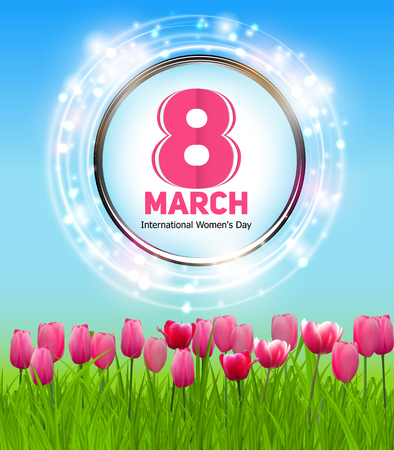 march 8: Womens Day Greeting Card 8 March Vector Illustration EPS10