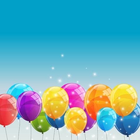 globos de cumpleaños: El color brillante hincha el fondo Ilustración vectorial EPS10