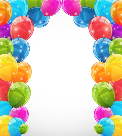 flying balloon: Color Glossy Balloons Background Vector Illustration EPS10