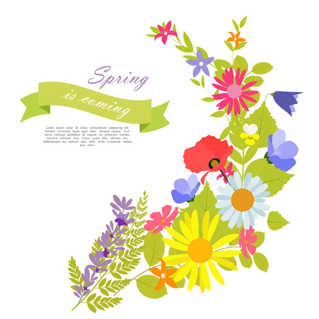 Abstract Natural Spring Background with Flowers and Leaves. Vector Illustration EPS10 Иллюстрация