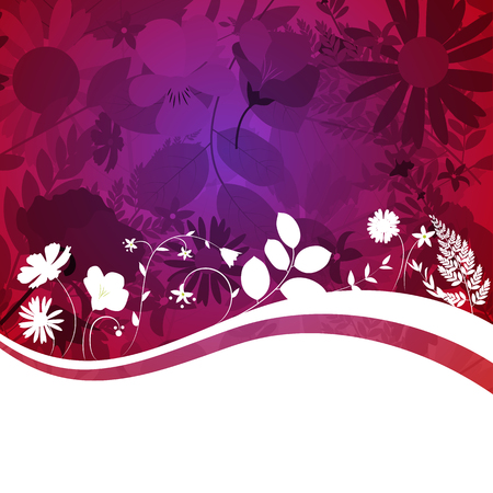 spring season: Abstract Natural Spring Background with Flowers and Leaves. Vector Illustration EPS10 Illustration