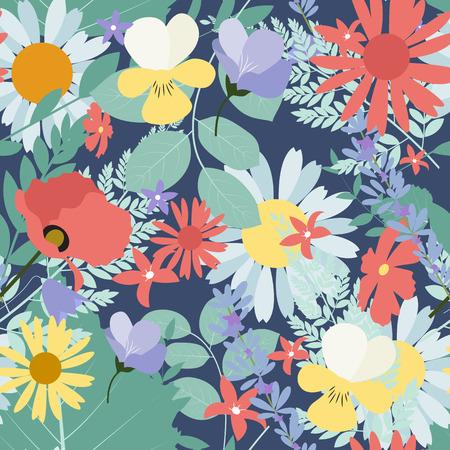 Abstracte natuurlijke lente naadloze patroon achtergrond met bloemen en bladeren. Vector illustratie EPS10