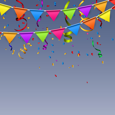 birthday decoration: Party Background with Flags Vector Illustration.