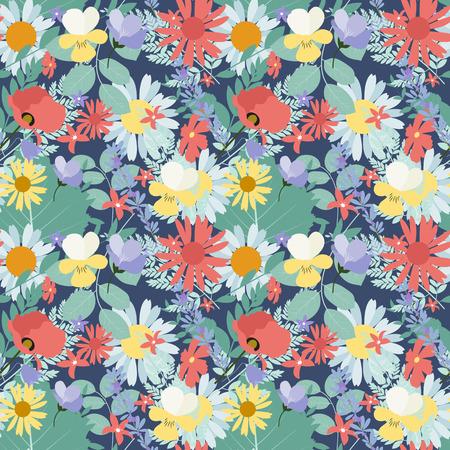 与花和叶子的抽象自然春天无缝的样式背景。
