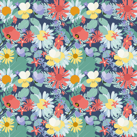 Abstract Natural Spring Seamless Pattern Background with Flowers and Leaves. Illustration
