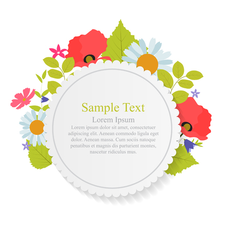 Abstract Natural Frame with Flowers and Leaves. Vector Illustration