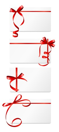 Gift Card with Red Ribbon and Bow Set