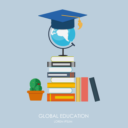 education icon: Global Education Concept. Trends and innovation in education.