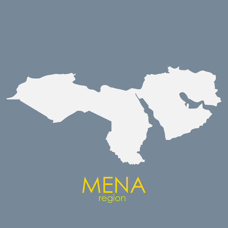 Mena Region Map on Gray Background. Vectores