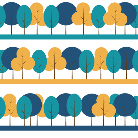 treelike: Different Trees Natural Seamless Pattern Background Vector Illustration