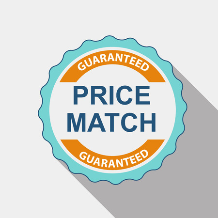 Price Match Quality Label Set in Flat Modern Design with Long Shadow. Vector Illustration EPS10