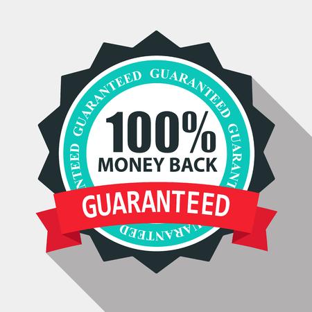 100% Geld Terug Kwaliteit Etiket Inloggen Vlak Modern Design Met Lang Schaduw. Vectorillustratie EPS10