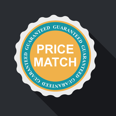 shadow match: Price Match Quality Label Set in Flat Modern Design with Long Shadow. Illustration
