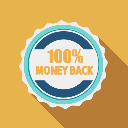 hundred: 100% Money Back Quality Label Sign in Flat Modern Design with Long Shadow. Illustration