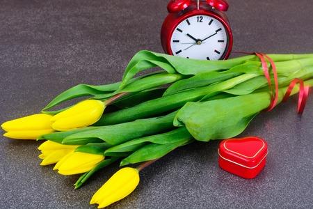loveliness: Set of Beautiful Yellow tulips on Dark Background Stock Photo