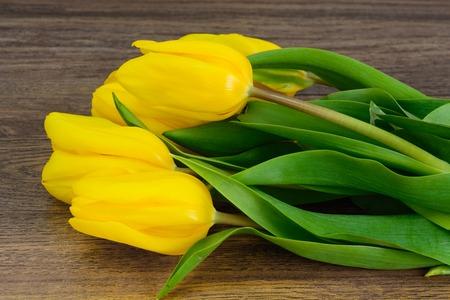 loveliness: Set of Yellow tulips on Wood Background