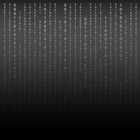 Black and White. Algorithm Binary Code with digits on background, encoding, decryptiondata code, matrix.