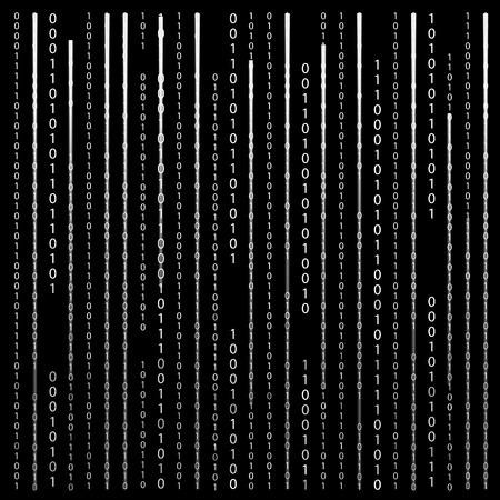 binaries: Black and White. Algorithm Binary Code with digits on background, encoding, decryptiondata code, matrix.