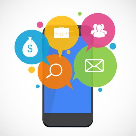 text messaging: Text Messaging Flat Concept Vector Illustration