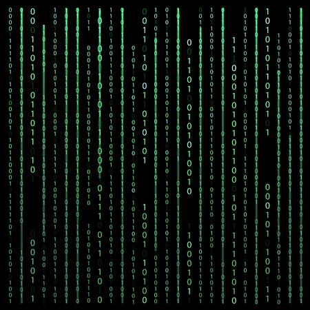 Black and White. Algorithm Binary Code with digits on background, encoding, decryptiondata code, matrix. Ilustração Vetorial