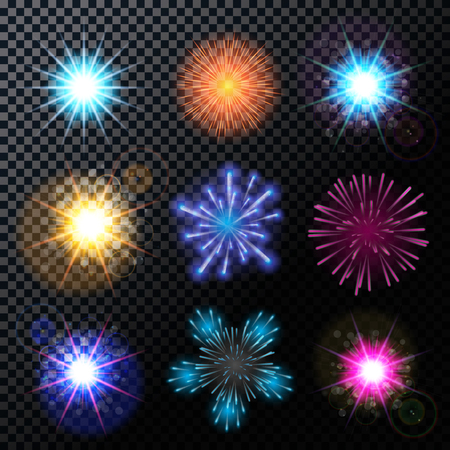 fourth birthday: Vector Illustration of Fireworks, Salute Set on a Transparent Background