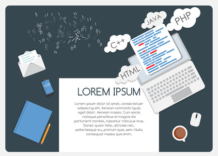 java script: Abstract Background on Business Theme with Empty Place for Your Text. Programming Coding Flat Concept Vector Illustration EPS10