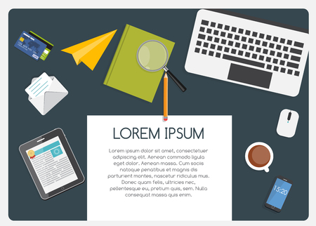 place of work: Abstract Background on Business Theme with Empty Place for Your Text. Work Place Flat Concept Vector Illustration EPS10
